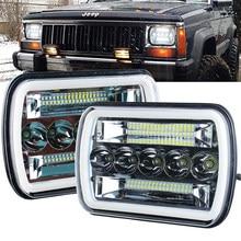 7x6 faróis led 5x7 led farol com sinal de volta drl branco halo selado feixe farol para jeep wrangler yj cherokee xj h6054