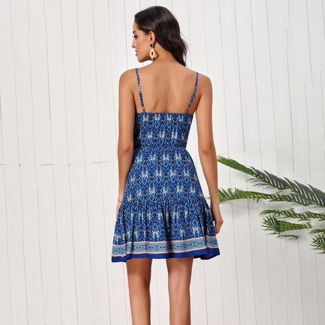 Fashion Women Summer Dress Sleeveless V-neck Drawstring Loose Short Dress High Waist Printed Sexy A-line Dress Backless Vestidos 2