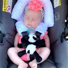 Детские Безопасность сиденье Подушка для поддержки головы подголовник в комплекте мягкая аэрированная флис ремень чехлы для детских автом...