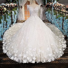 LS00174 vestido de noiva see through back appliques cap sleeves lace ball gown cathedral train Luxury wedding dresses real photo