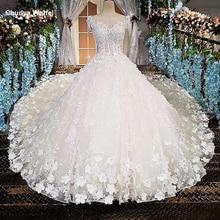 LS00174 voir à travers le dos perles manches courtes dentelle robe de bal de mariage derss cathédrale train de luxe