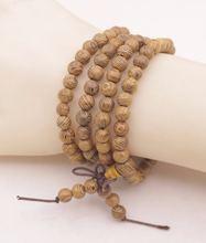 Длинный браслет 6 мм из натурального дерева венге Будда молитвенные