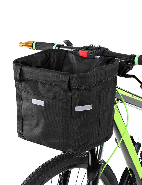 TIANTIAN Bike Basket Bike Front Waterproof Canvas Bag Folding Cycling Bag Removable Pet Dog Carrier Multi-Purpose Bicycle Handlebar Basket Detachable Bag for Shopping Camping Picnic Coffee