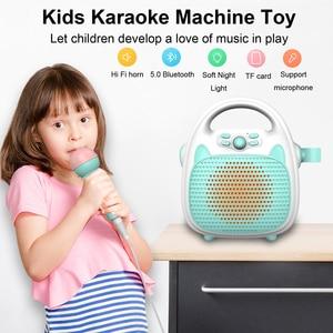 Bluetooth leitor de música karaoke das crianças cantando máquina brinquedo bluetooth alto-falante para festa das crianças luzes led apoio tf cartão