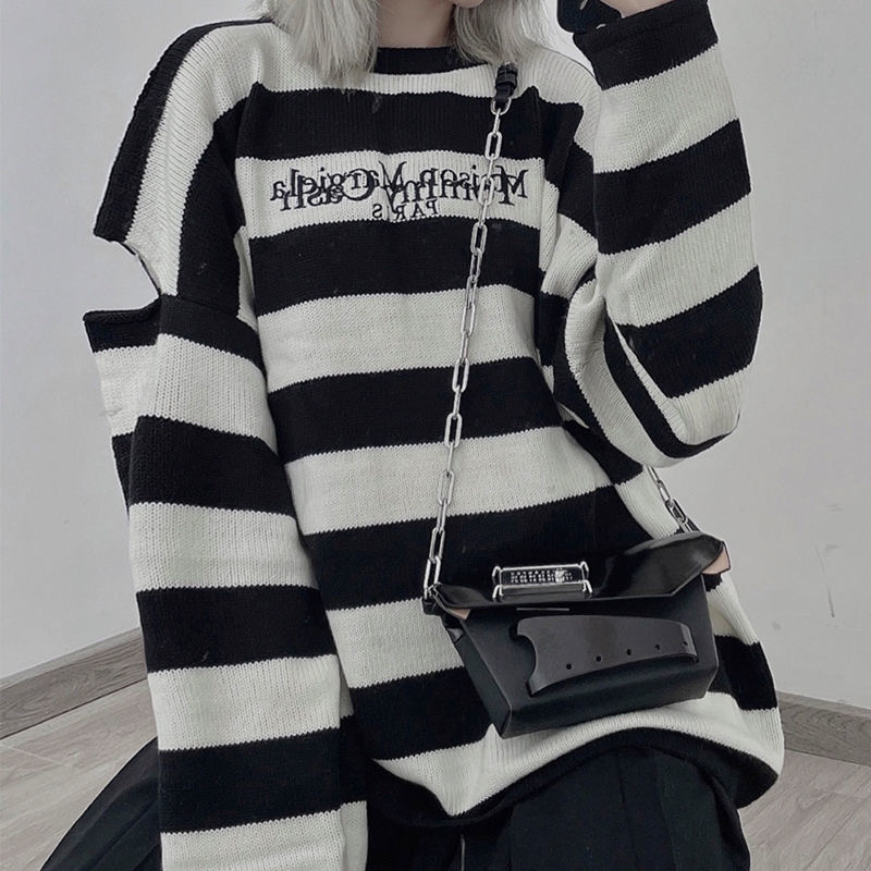 2021 new Women Sweater Pullovers Autumn Winter Streetwear Embroidered Letters Stripes Casual Loose Couple Clothes Korean Top ins