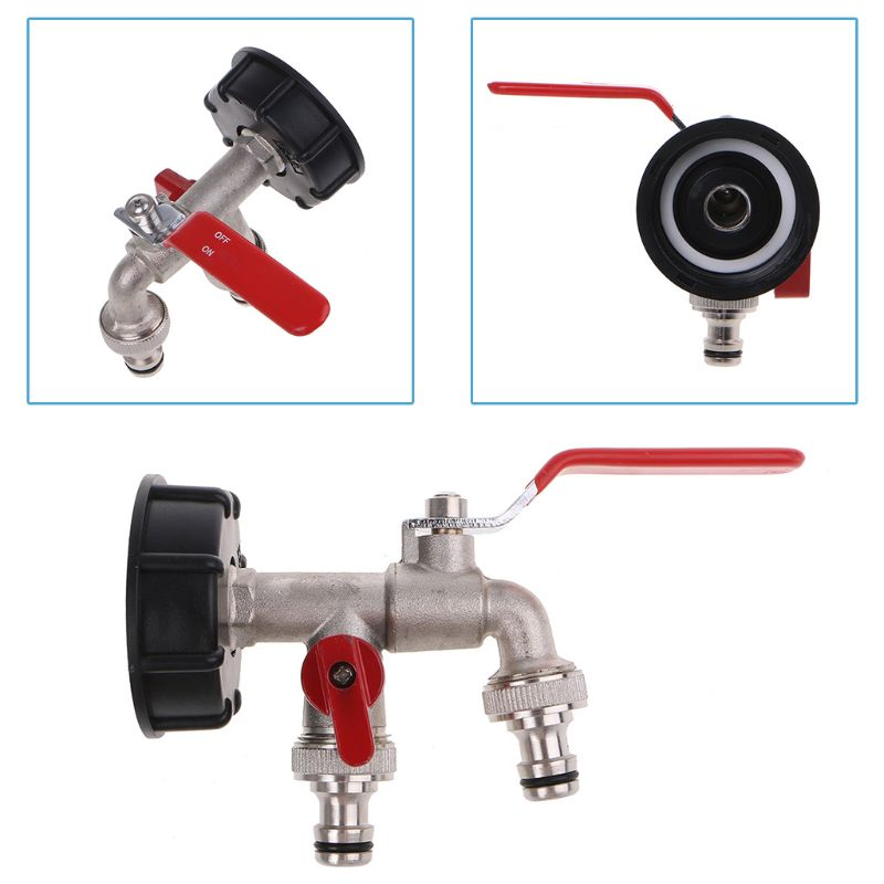 """IBC S60X6 Water Tank Outlet   with Brass Tap & 1/2"""" Twin Tap Snap On Connector Water Butt"""