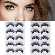 5 Pairs/Set 3D False Eyelashes Multilayer Fiber Hard Stem Eyelashes Extension Eye Makeup Natural Long Black False Lashes Tools