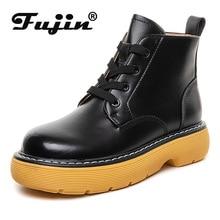 Fujin Echt Leer Vrouwen Laarzen Platform Chunky Rubberen Zool Ademende Real Comfortabele Lace Up Laarzen Botas Schoenen Voor Vrouwen