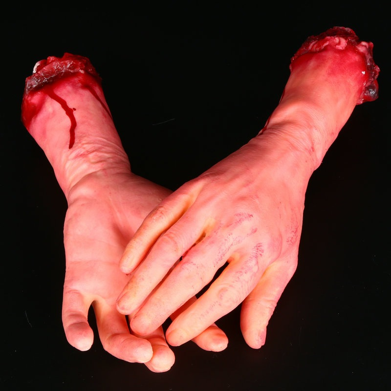 Adult Funny Toy Human Arm Hand Bloody Corpse Part Haunted House Halloween Props Right Ar Toy Drop Transport Prank Toy