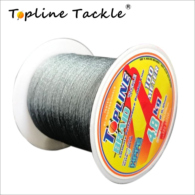 Topline Tackle Fishing Braided Line For Reservoir Pond 4 Strand PE Fishing Line Braided Cord For Fishing 100M For Freshwater
