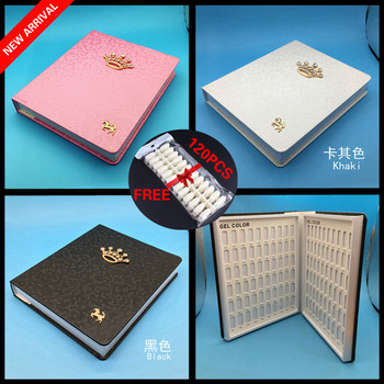120 Color Nail Display Book Nail Tips Leather Cover Gel Polish Display Chart Nail Art Salon Tools with False Tips Showing Shelf hr5544 nail care 50tips lot nail art salon natural color abs material false nail tips polish uv gel display nails color chart