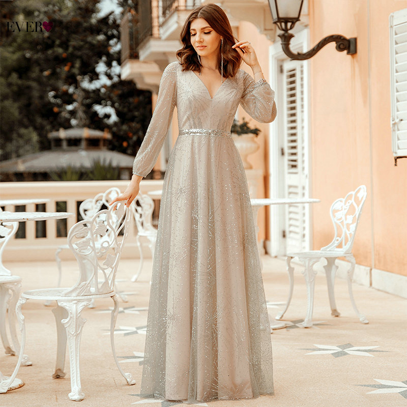 Elegant Grey Evening Dresses Long Ever Pretty A-Line V-Neck Full Sleeve Sparkle Formal Dresses For Party Robe De Soiree Dubai
