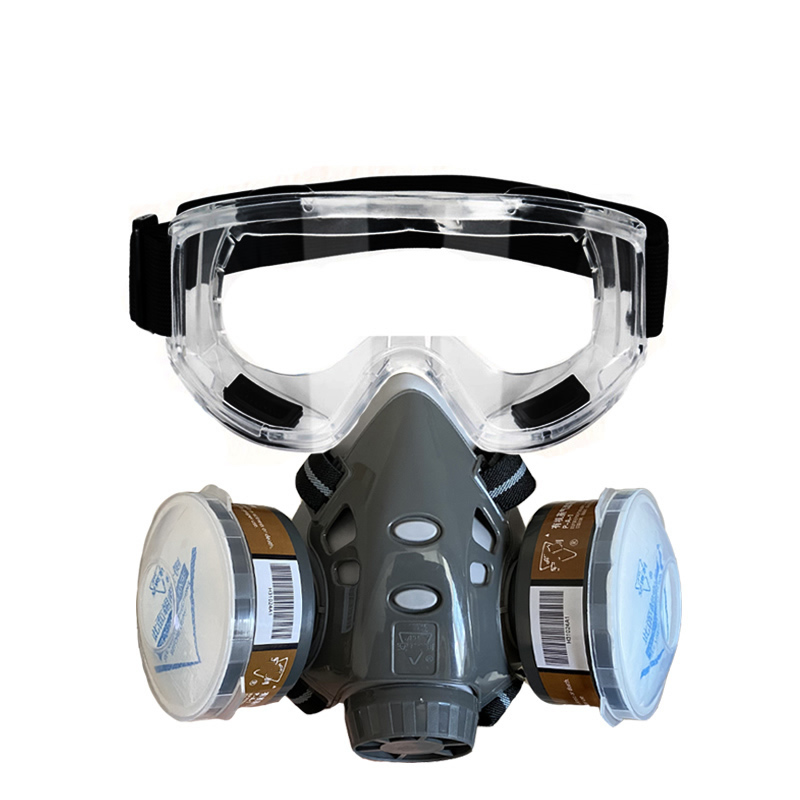 Professional Half Face Gas Dust Mask With Wide Vision Safety Goggles Carbon Filtering Cartridge For Spraying Painting Work Safe