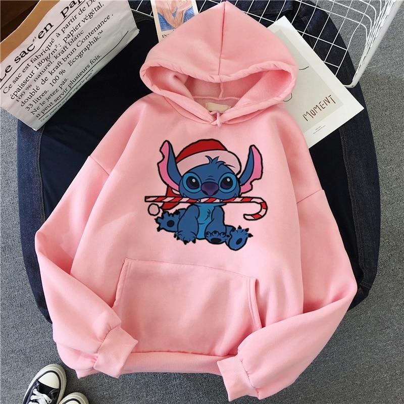Lilo Stitch Hoodies Aesthetic Vintage Hot Cartoon Kawaii Women Swearshirt Christmas Casual Autumn Clothes Harajuku Tees