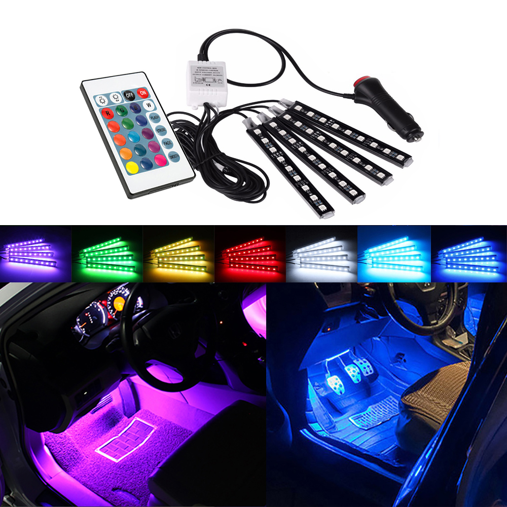 7 Colors Car Decorative Lamp LED Strip RGB Remote Control For <font><b>Hyundai</b></font> <font><b>Santa</b></font> <font><b>Fe</b></font> Tucson 2017 Creta Kona IX35 Solaris Accent I30 image