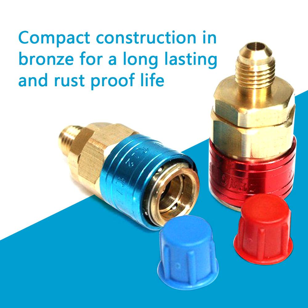 1 Pair 1/4 SAE R134A QC-12 L/H Pressure Car Quick Coupler Connector Air Conditioning Refrigerant Adjustable AC Manifold Gauge