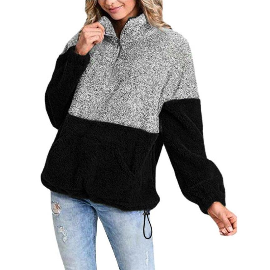 Female Jacket Plush Coat Feminine Fashion 2020 Long Sleeve Oversize Zip Sweatshirt Pullover Outwear Coat Pockets Windproof
