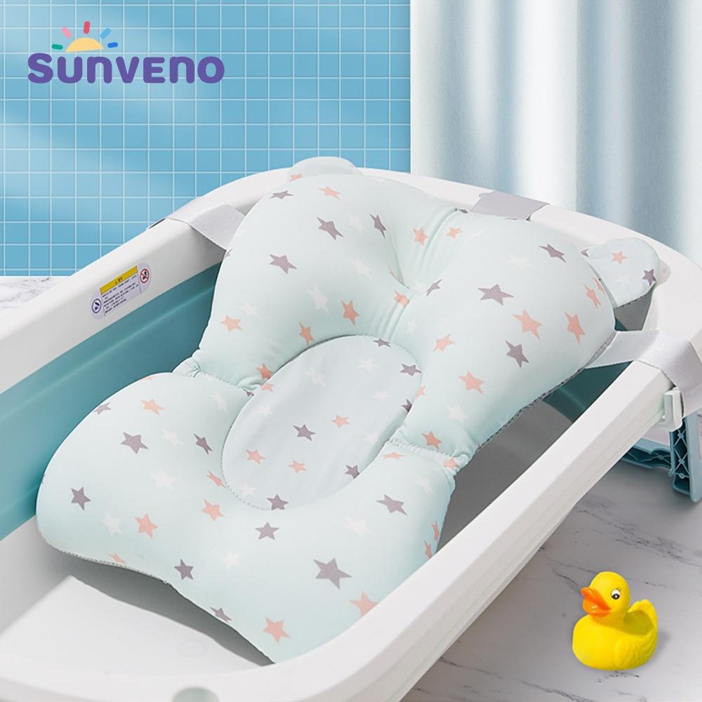 SUNVENO Baby Shower Bathtub Pad Support Mat Foldable Pillow Newborn Safety Bath Mat Infant Non-Slip Soft Comfort Bathtub Cushion