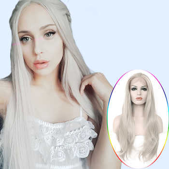 Anogol High Temperature Fiber Silver Grey Long Natural Wave White Wigs Synthetic Lace Front Wig For Women Cosplay - DISCOUNT ITEM  65% OFF All Category