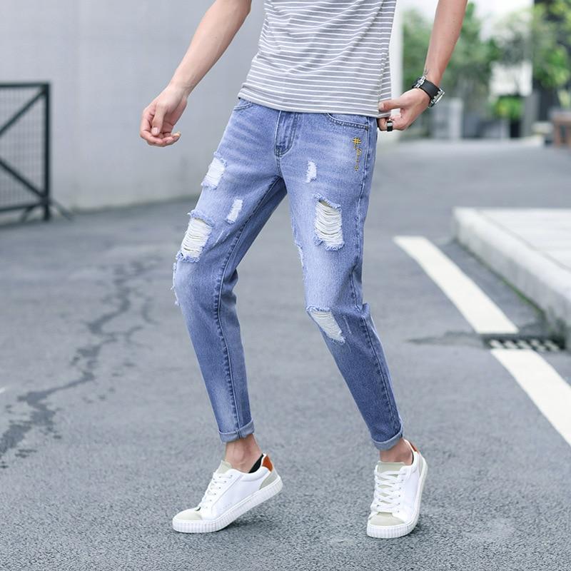 2019-with Holes Jeans Men's Popular Brand Korean-style Slim Fit Skinny Pants Loose-Fit Beggar Capri Pants Sub-Men's Summer 817 #