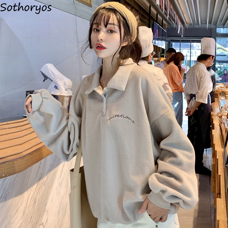 Hoodies Women Oversize Thicker Warm Korean Style High Quality All-match Leisure Pullover Clothes Womens Turn-Down Collar Hoodie