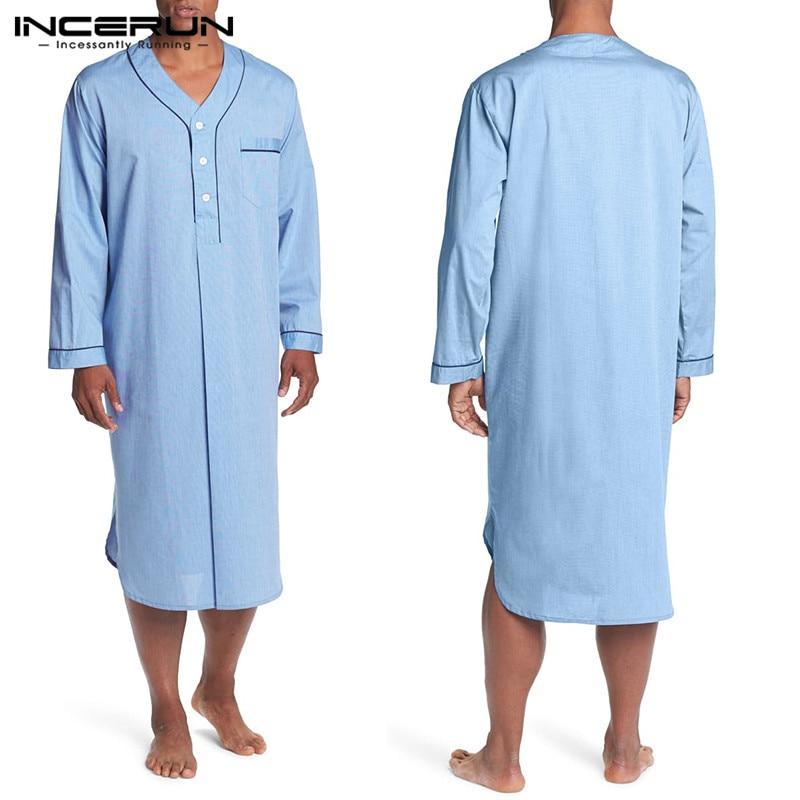 2020 Men Long Sleeve Sleep Robes Homewear V Neck Button Cozy Bathrobe High Quality Leisure Mens Pajamas Nightgown Dress INCERUN