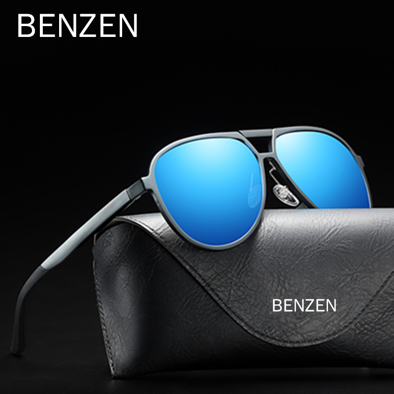 BENZEN Polarized Men Sunglasses Quality Al-Mg Aviation Male Sun Glasses Cool Driving Goggles Shades UV Protection Black 9330