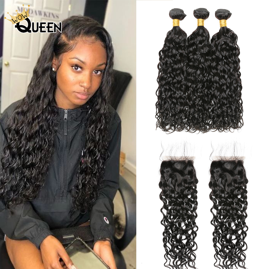Water Wave Bundles With Closure 100% Malaysian Human Hair Natural Color 30 Inch Bundles With Closure Remy Hair Extensions