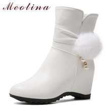 цена на Meotina Winter Ankle Boots Women Pearl Height Increasing High Heels Short Boots Zipper Round Toe Shoes Ladies Autumn Big Size 43