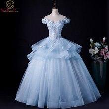 Женское бальное платье с кружевной аппликацией светло голубое