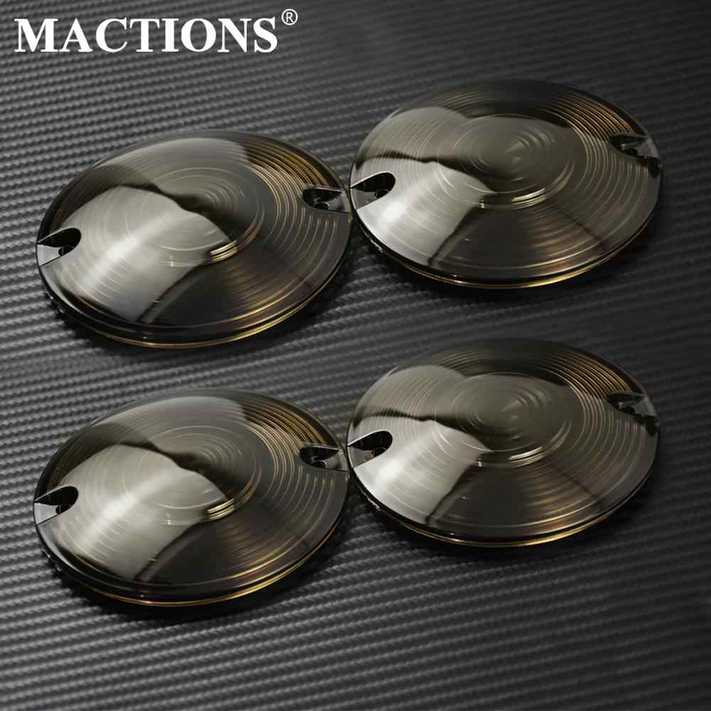 4pcs Motorcycle Turn Signal Light Lens Smoke Cover Fit For Touring Softail