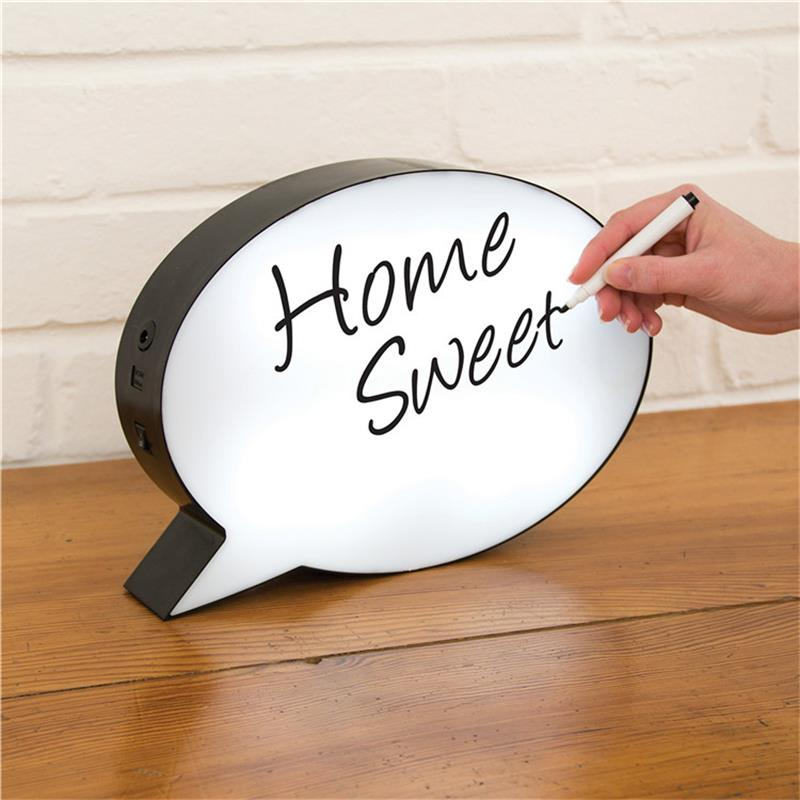 LED Message Handwriting  Letter Light Box Speech Bubble Shape Writing Board Add 2Colors Pen For Birthday Party Wedding