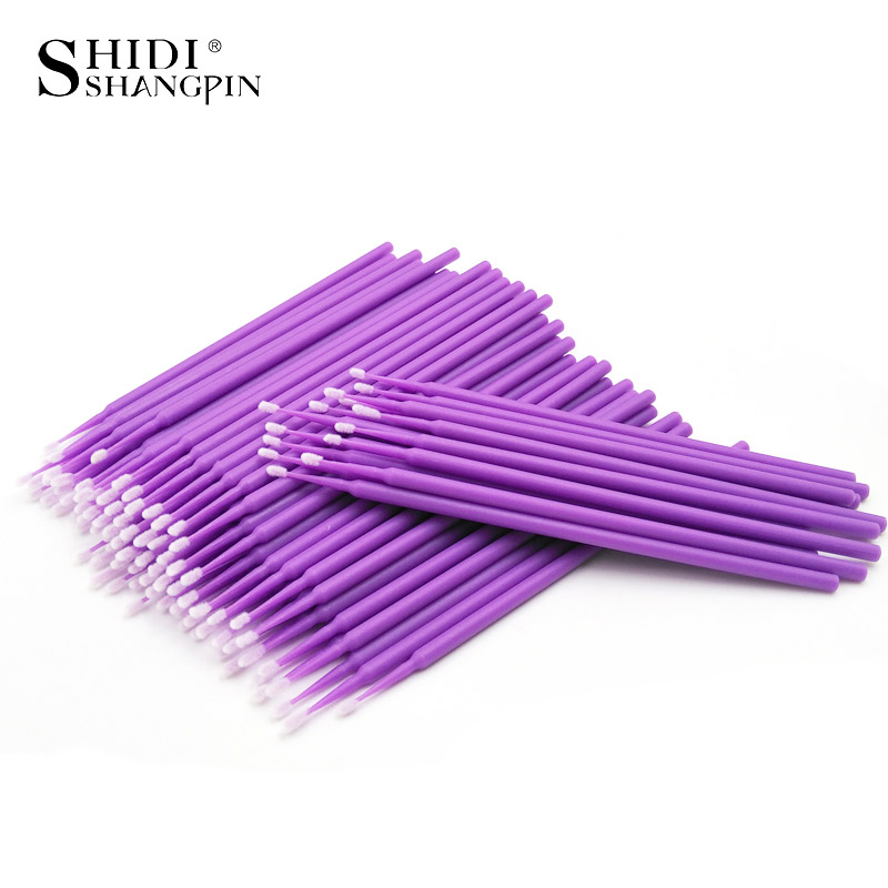 100Pcs Disposable Make Up Eyelashes Individual Lashes Removing Cotton Swab Micro Brush Eyelashes For Maquiagem Makeup Tools