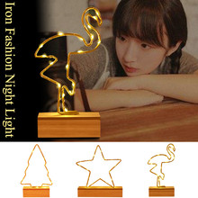 Hot Sale Wrought Iron Flamingo /Star /tree Wooden Base Night Light Creative LED Dream Table Lamp Bedroom Gifts for Girls