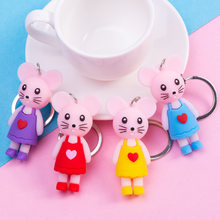 Cute Cartoon Mouse Pendant Keychain PVC Soft Glue Rat Key Chains For Women Men Bag Wallet Pendant Key Ring Children's Toy Gift(China)