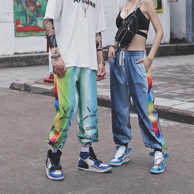 Harem Pants Gradient Print Pants Women Full Length Loose Mujer Sporting Elastic Waist Black Casual Combat Streetwear Fashion