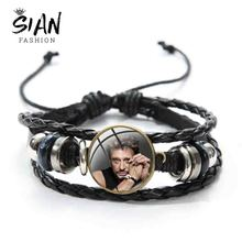 SIAN Johnny Hallyday Printed Art Photo Bracelet Famous Rock Star Musician Series Special Bracelets Glass Button Leather Bangles