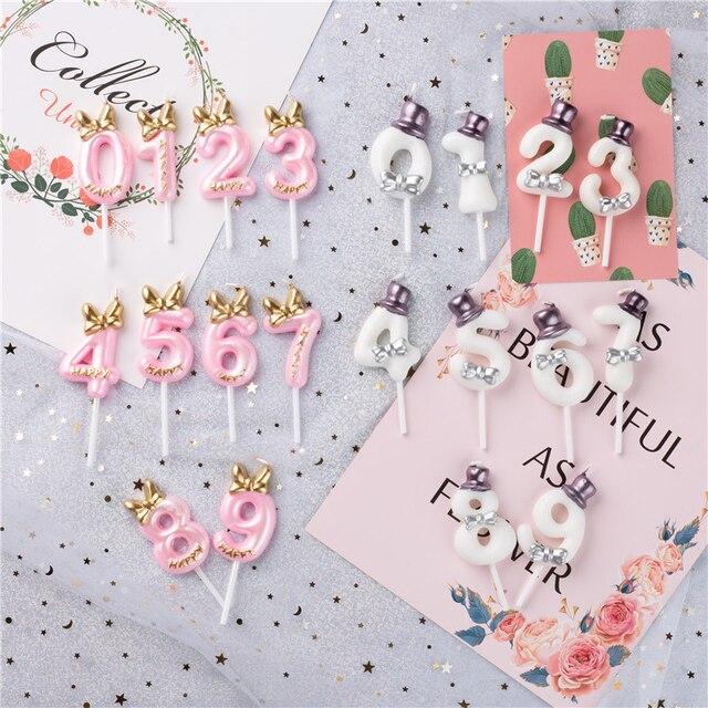 Décoration de gâteau danniversaire avec numéros de gâteau pour anniversaire, décoration de fête pour anniversaire 0 1 2 3 4 5 6 7 8 9 numéros de gâteau pour anniversaire