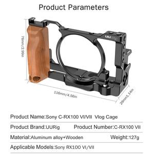 Image 5 - UURig métal caméra Vlog Cage pour Sony RX100 VI/VII double chaussure froide tout à fait libération plaque avec poignée en bois 1/4 vis accessoires