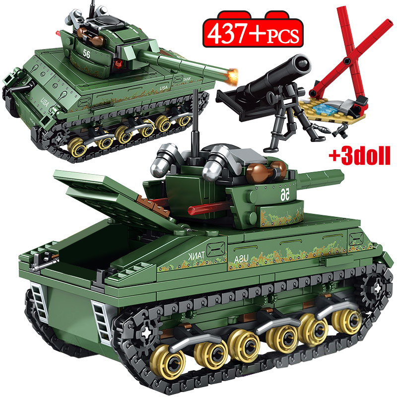 437PCS Legoingly Military WW2 Tank USA Sherman M4 Tank Model Building Blocks Soldier Figures Weapon Bricks Education Kids Toys