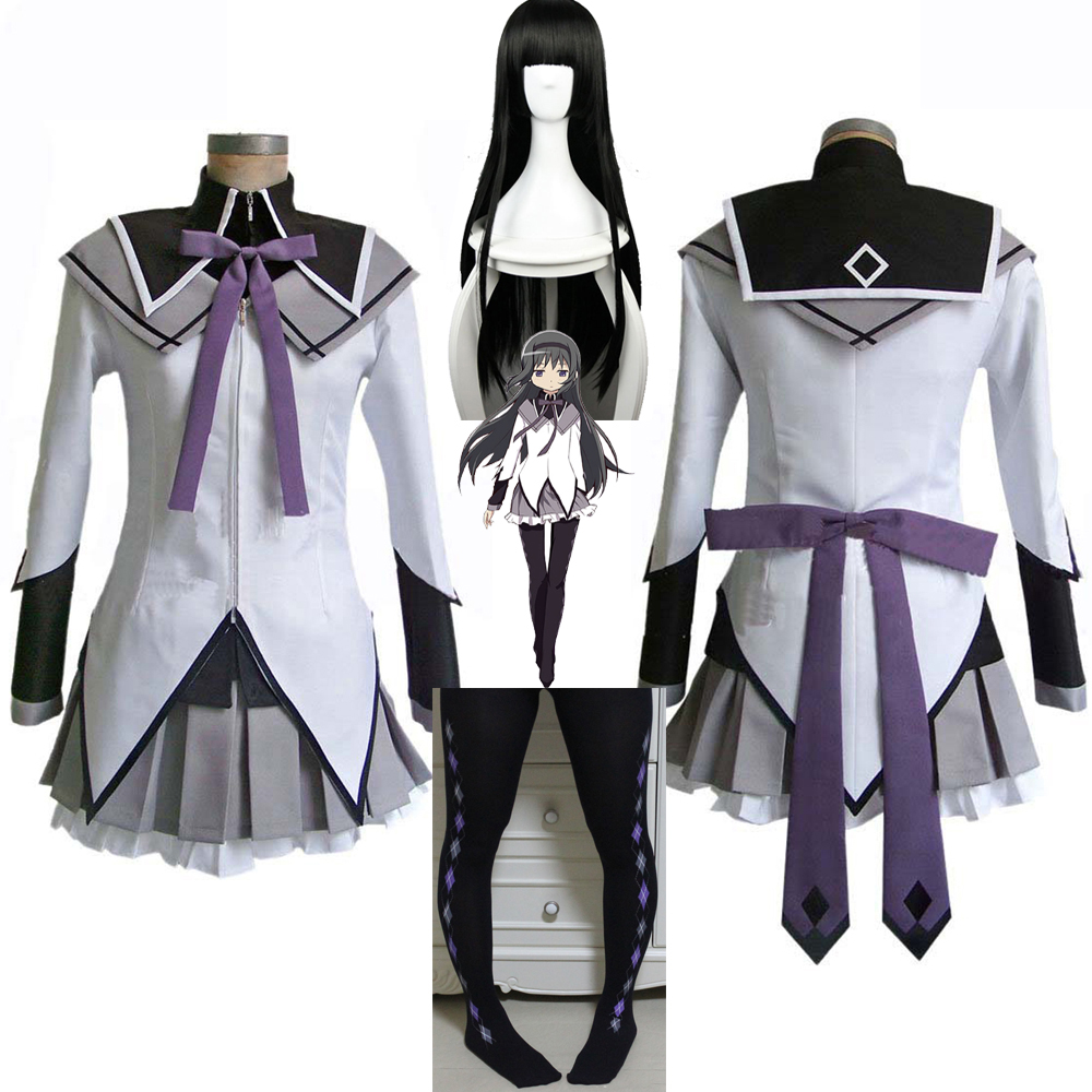 Puella Magi Madoka Magica Akemi Homura Cosplay Costume Short Ball Dress With Bowknots Cosplay Costume Homura Akemi Cosplay Wig