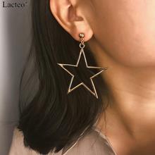 Lacteo Simple Minimalist Big Star Dangle Earrings for Women Statement 2019 Fashion Hollow Metal Drop Female Jewelry