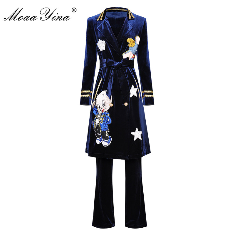 MoaaYina Fashion Designer Set Spring Summer Women Long Sleeve Cartoon Embroidery Windbreaker Coat+Trousers Velvet Two-piece Set