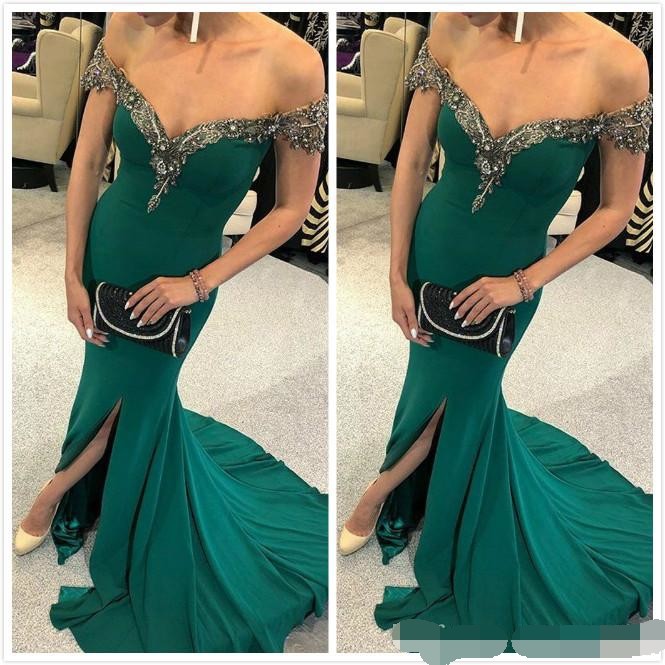 Hunter Green Mermaid 2019 Arabic Beaded Crystals Prom evening Dress Sexy Cheap Formal Party Pageant Evening Dresses