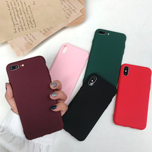 Simple solid color soft shell phone case for iPhone X XS XR XSMax 8 7 6 6S PluS silicone soft shell protection back cover