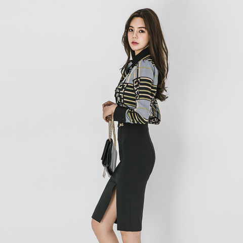 2 Piece Sets Women 2019 Summer autumn Office Lady Top Shirt Bodycon Pencil Skirt Knee-Length Eleagnt Slim Suit sets Lahore