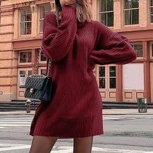 Свитер с высоким воротником, осенне-зимний женский тонкий длинный толстый Топ, женское платье-свитер с длинными рукавами на плечах