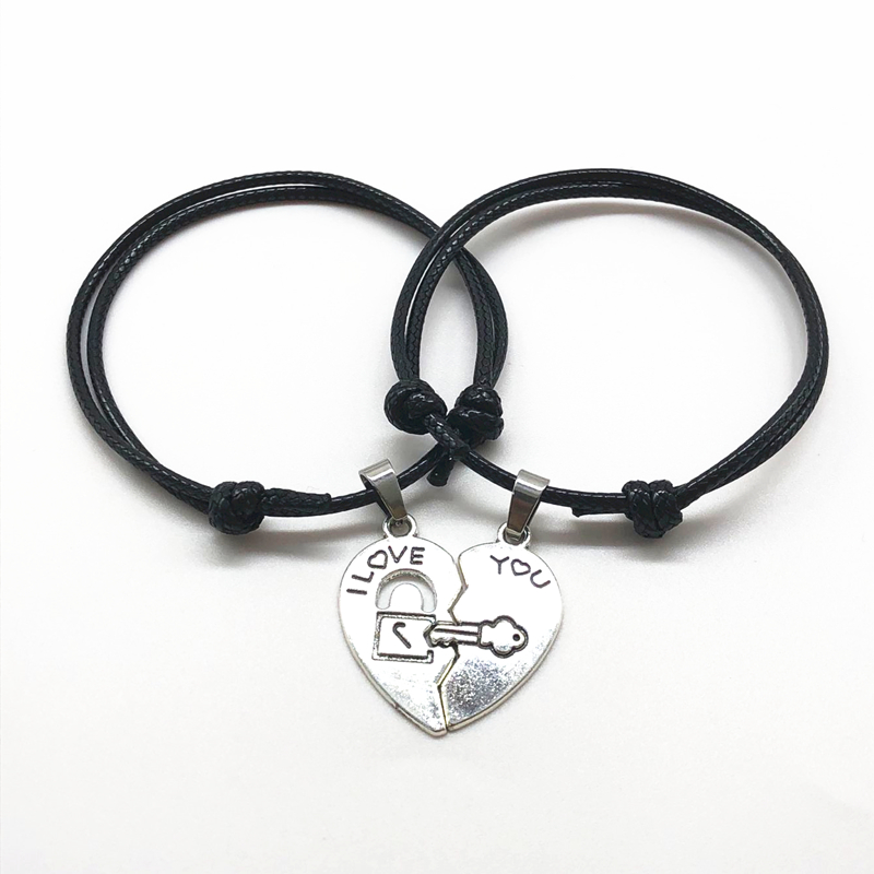 "2 Pcs/set Couple Bracelet ""love you"" Lettering Love Key Lock Stitching Black Rope Adjustable Chain Pair Bracelets Gift for Lover(China)"