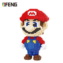 Micro super game mario building bricks cartoon Connecting Block assemble toys model gifts for children недорого