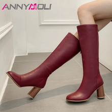 ANNYMOLI Winter Long Boots Women PU Leather Round High Heel Knee High Boots Zipper Square Toe Shoes Female Autumn Plus Size 3-12 new winter women black gray orange color round toe square heel slip on knee high boots elastic plus size knight long boots lady